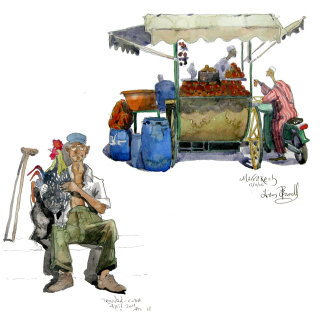Illustration of street vendors