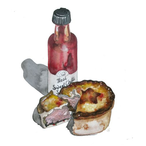 Watercolour of a snack showing a bottle of Chili and a pork pie