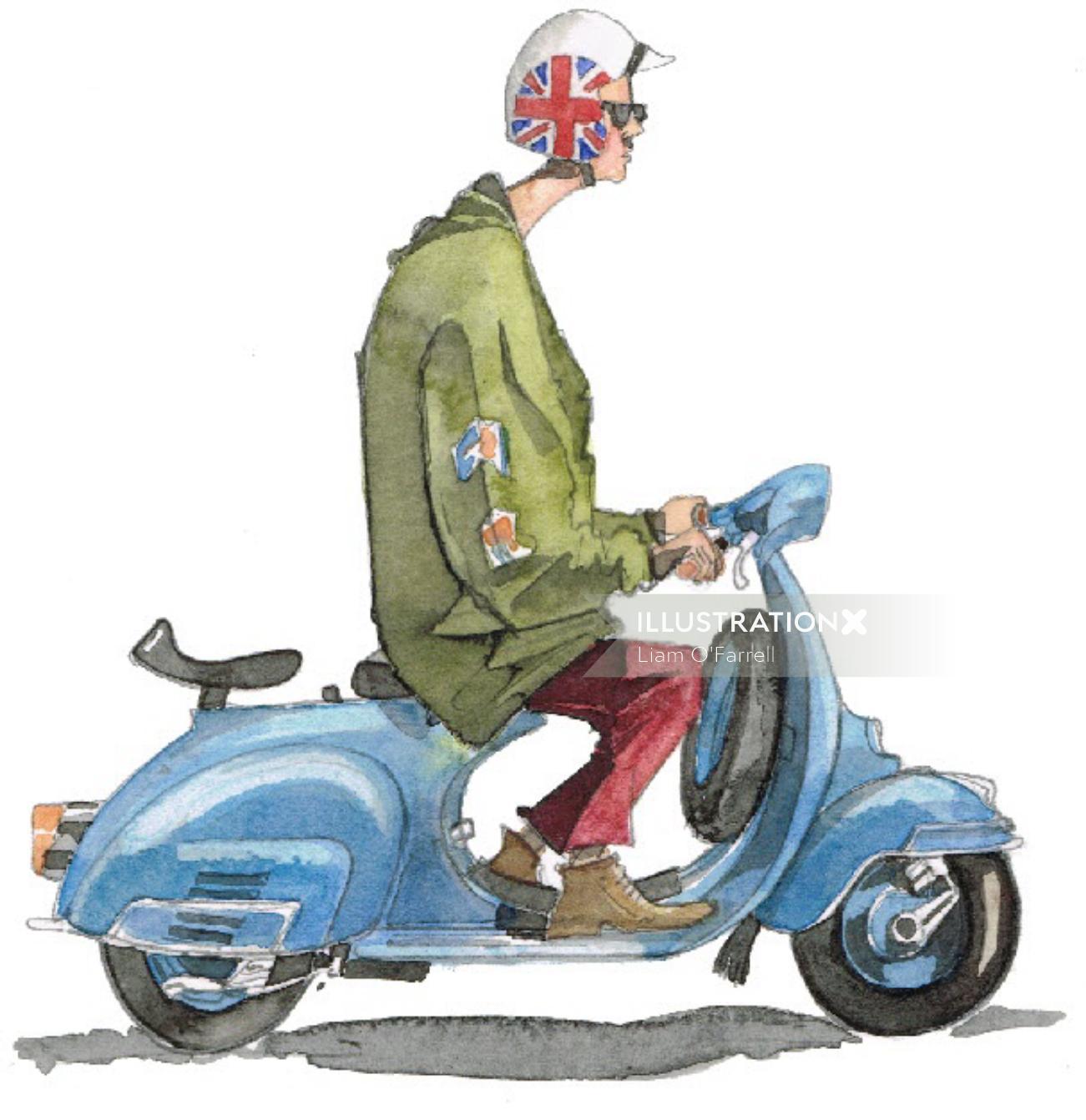 Illustration of man on a Vespa