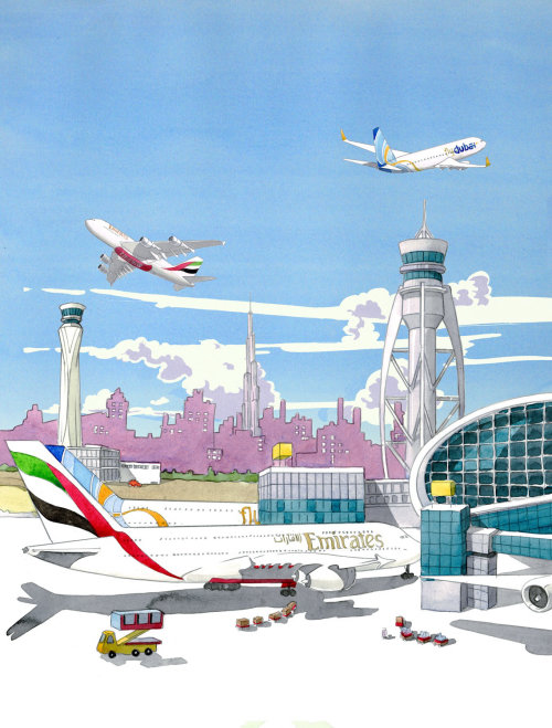 Illustration of Dubai Airport