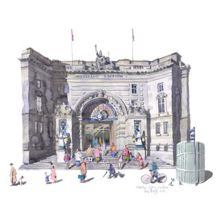 Illustration of waterloos station entranc