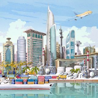 Illustration of skyline of Dubai