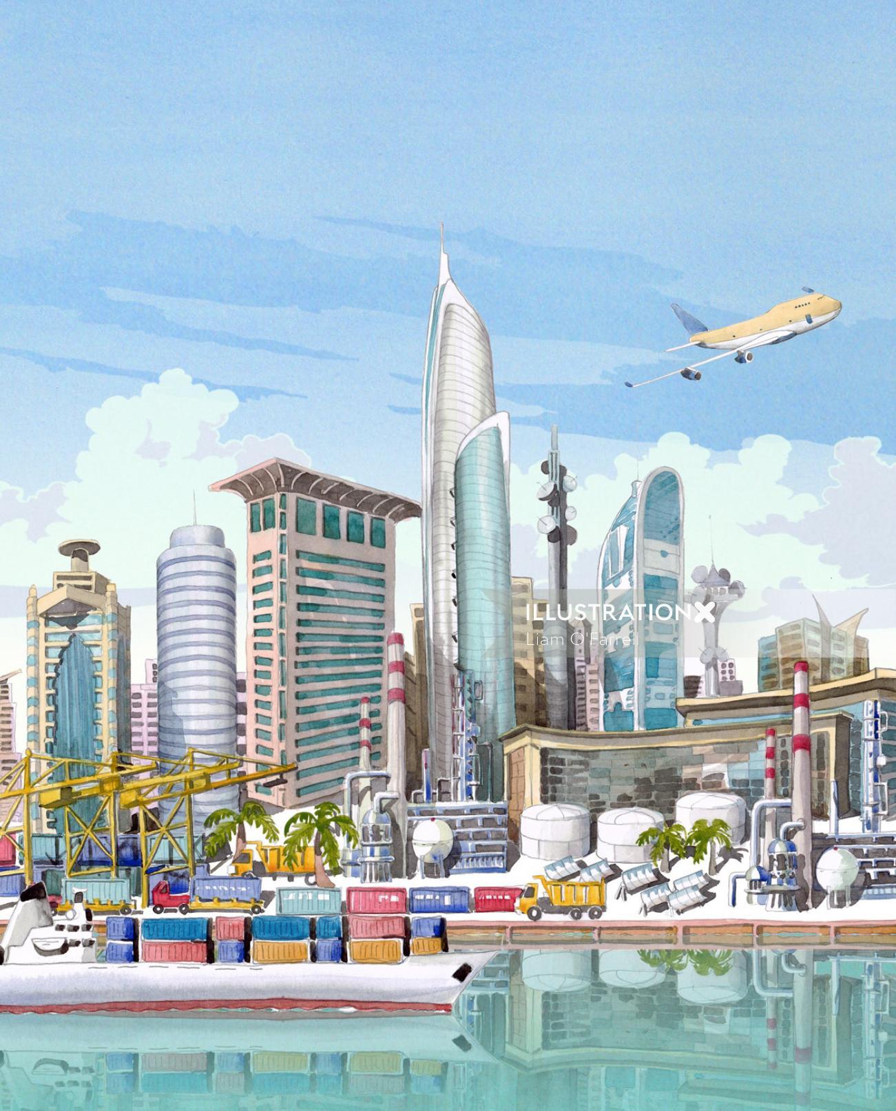 Illustration of skyline of Dubai