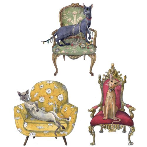 Illustration of Cats in Chairs