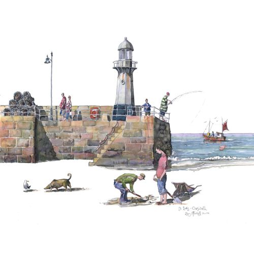 People fishing in St Ives, Cornwall.