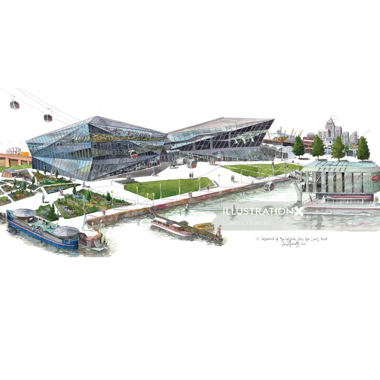 Illustration of the Siemens Crystal in London