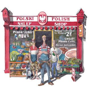 A cartoon of men outside a shop