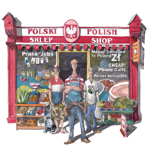 A cartoon of Polish men outside a shop