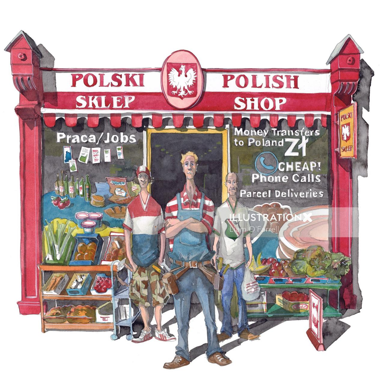 A cartoon of Polish men outside a shop