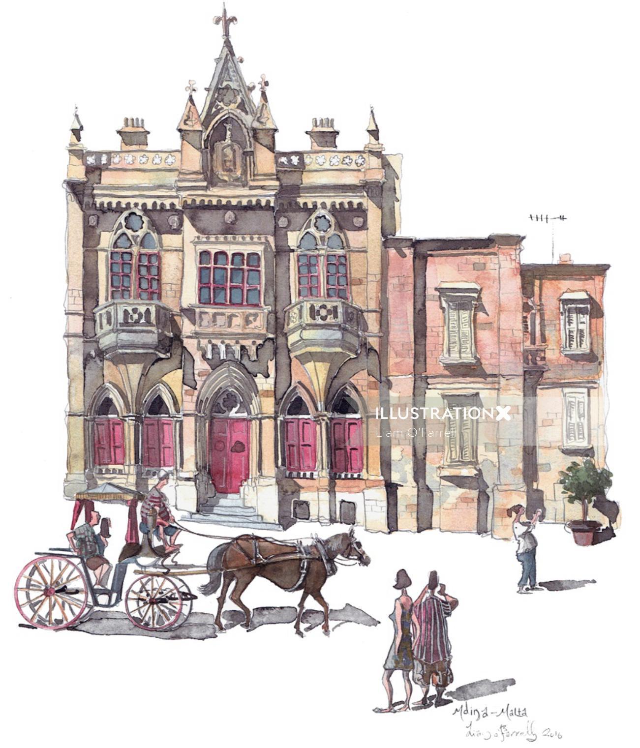 Illustration of building