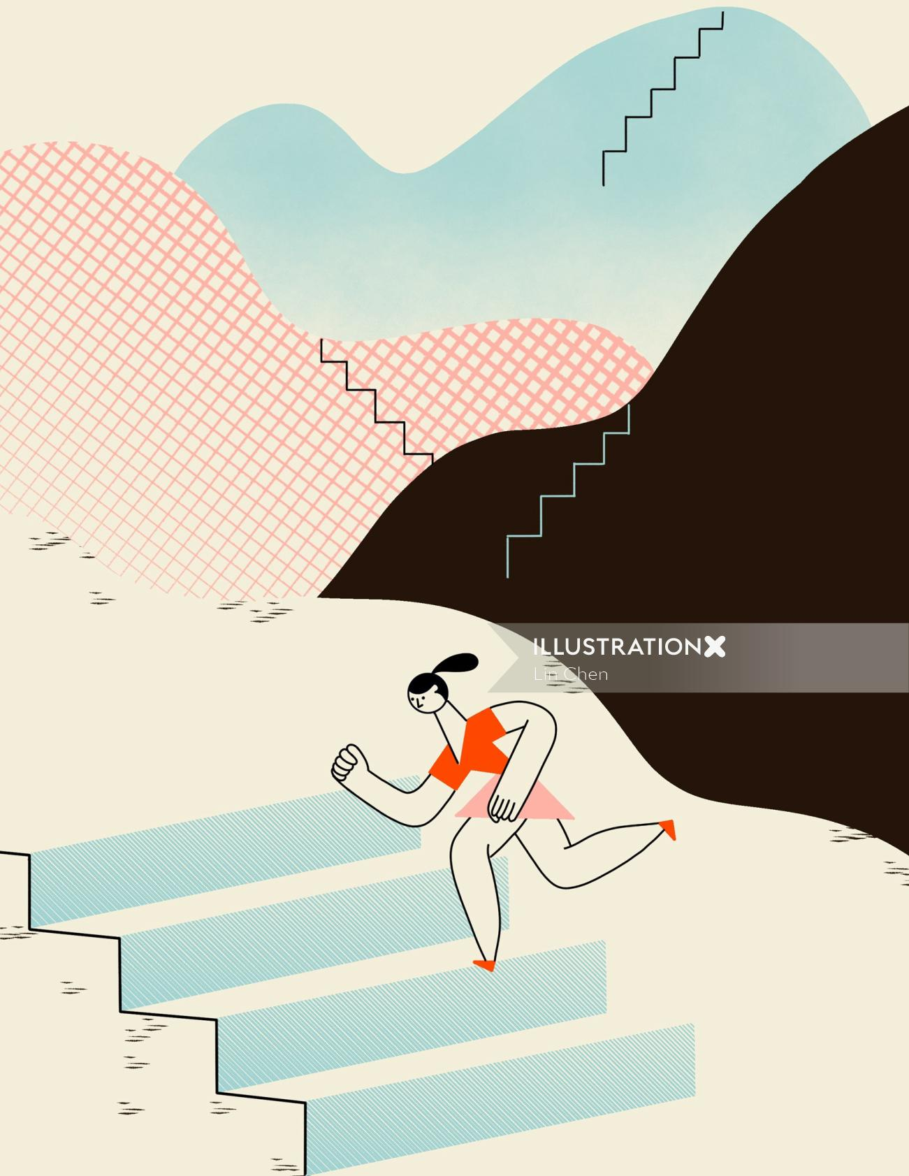 young woman running up on stairs