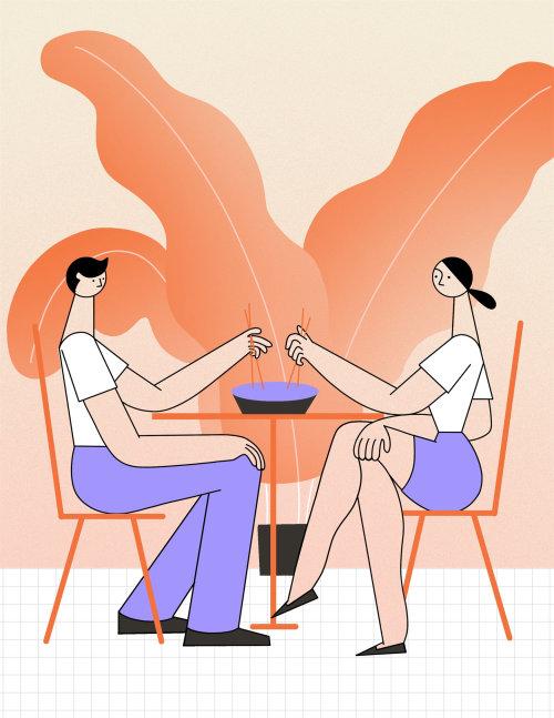 Editorial Illustration of Couple having dinner