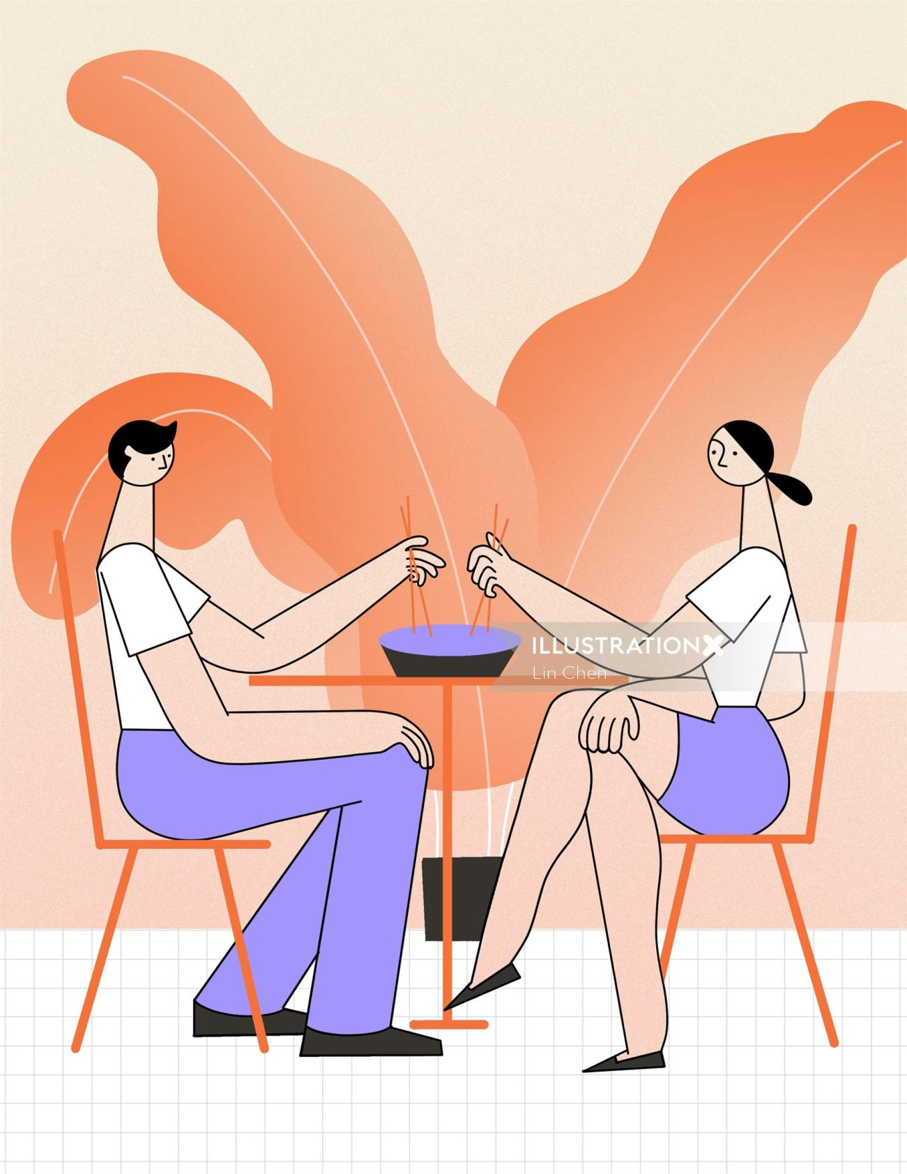 Editorial Illustration of Couple having dinner