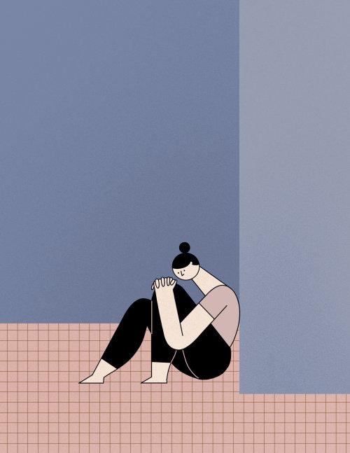 Ilustração editorial de mulheres tristes