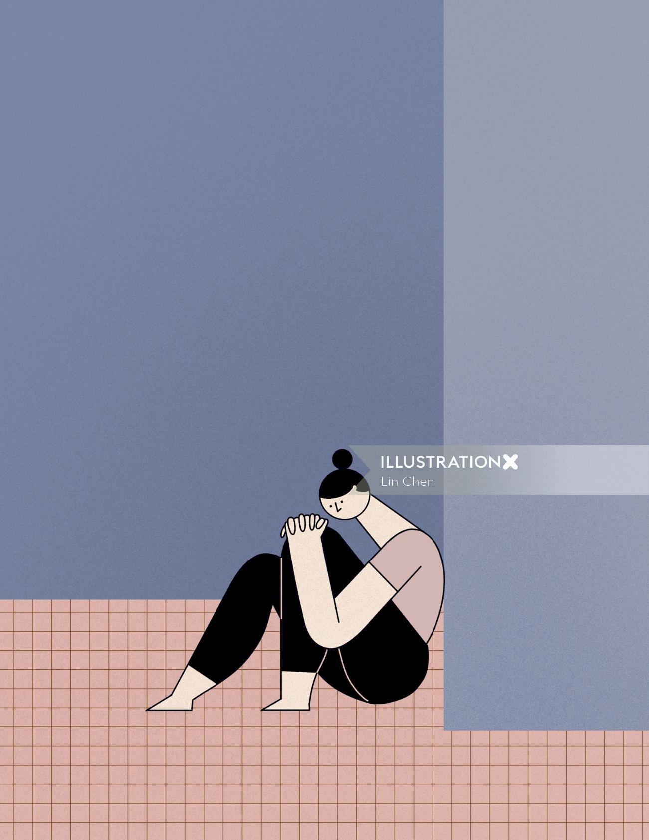 Editorial illustration of sad women