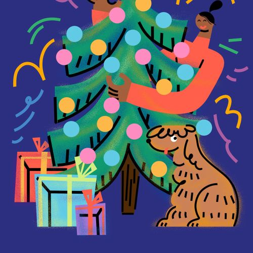 Artwork of young woman and dog celebrating christmas