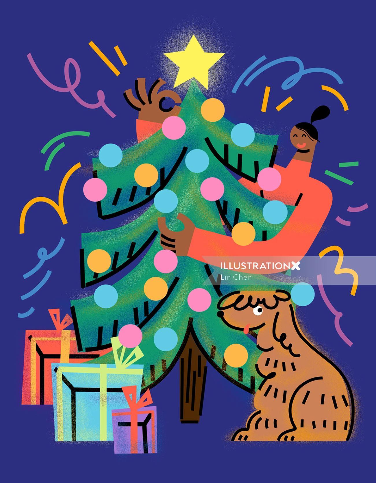 Artwork of young woman and dog celebrating christmas