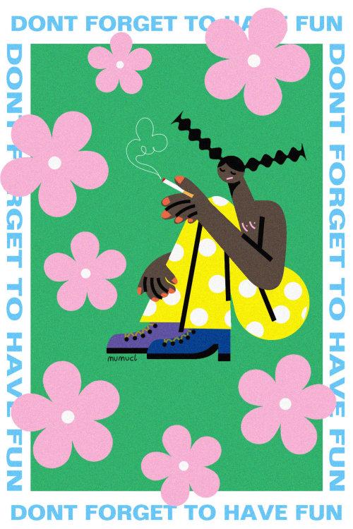 Graphic of smoking woman