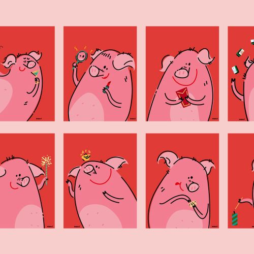 Graphic pictograph of pig