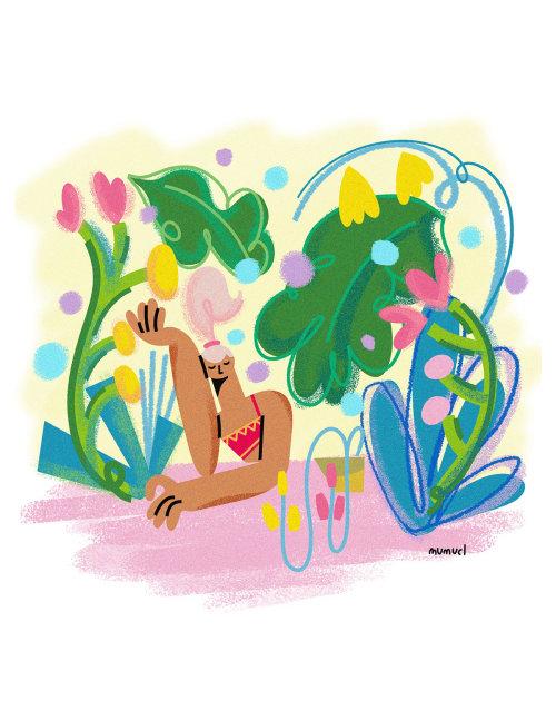Spring season illustration by Lin Chen