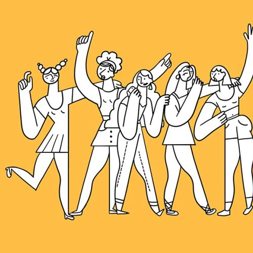 Line illustration of dancing people