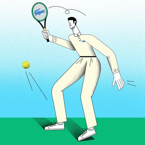 Ilustração do desgaste de esportes de tênis lacoste para homens