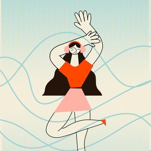 Line art of dancing woman