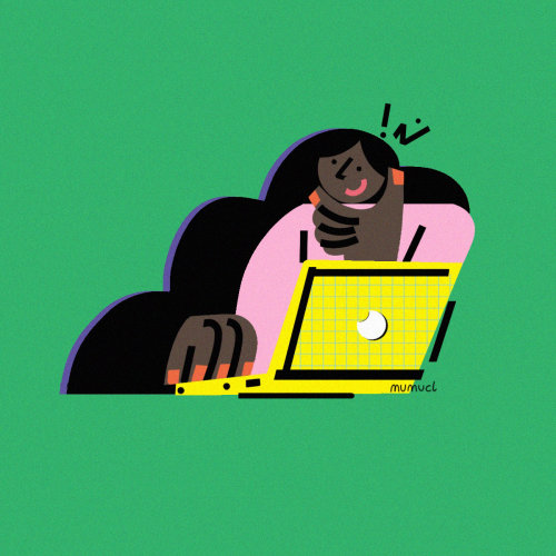 Graphic businesswoman with laptop