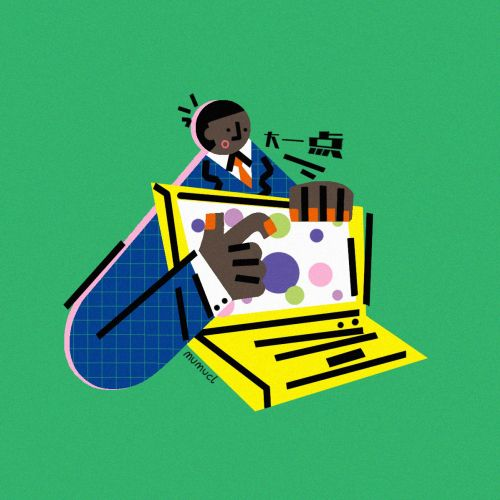 Graphic businessman with laptop