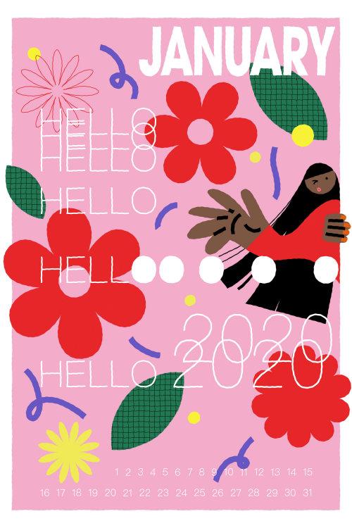 Graphic Hello January calendar