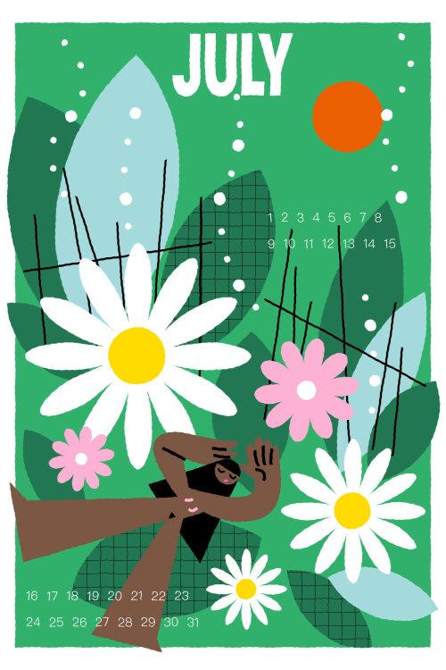 Graphic flower theme july calendar