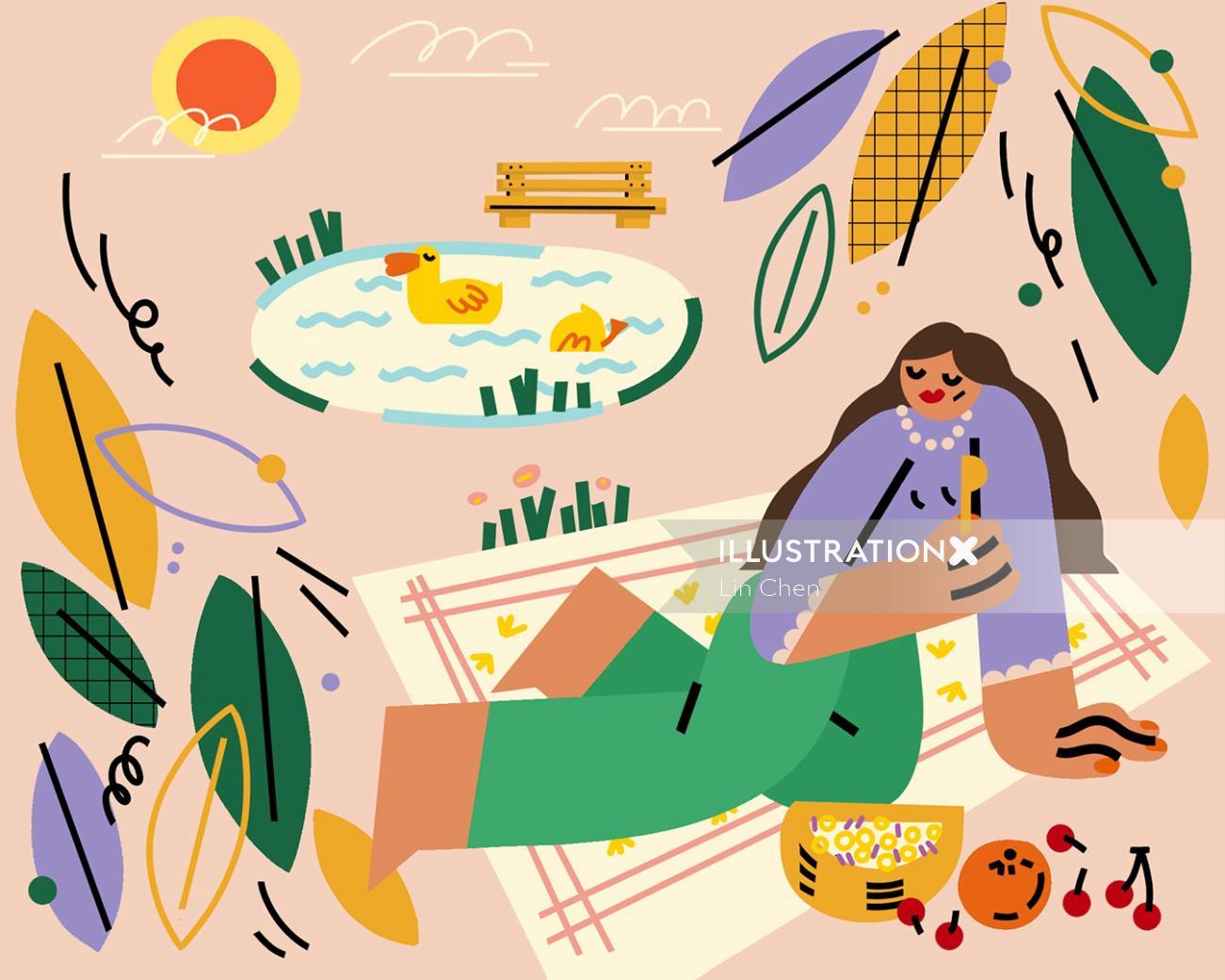 Contemporary art of women picnic