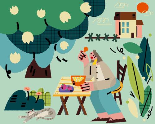 Graphic man enjoying food in nature