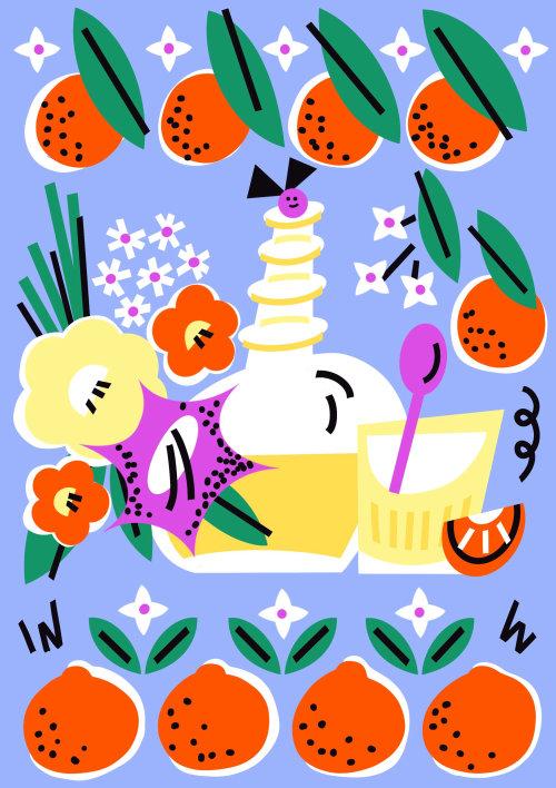 Graphic fruit garden
