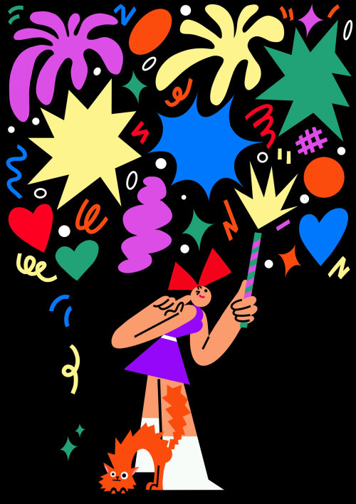 Graphic Girl with magic wand
