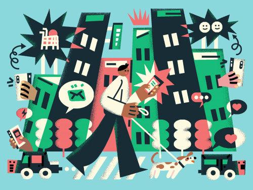 Graphic man walking with dog