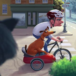 Man Carrying His Dog In the Bicycle Sidecar