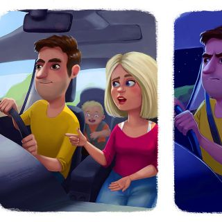 Cartoon of couple characters in the car