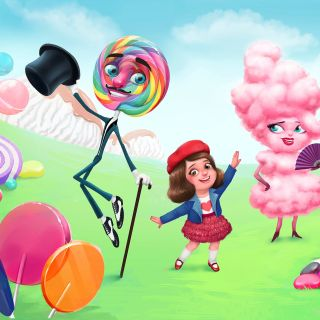 Illustration of Girl Playing with Candies