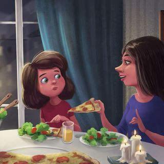 Cartoon mother & daughter eating pizza