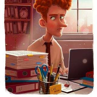 Man working with laptop - Cartoon illustration