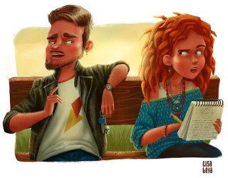 Couple sitting on bench, Cartoon illustration