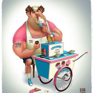 Huge man eating ice cream illustration by Lisa Beta