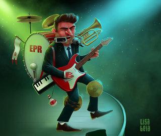 Man playing guitar illustration by Lisa Beta