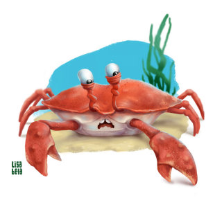 Cartoon crab illustration by Lisa Beta
