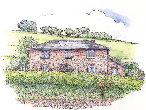 Digital painting of farm house