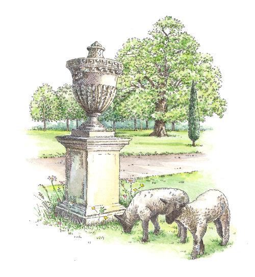 Decorative illustration of lawn ornament