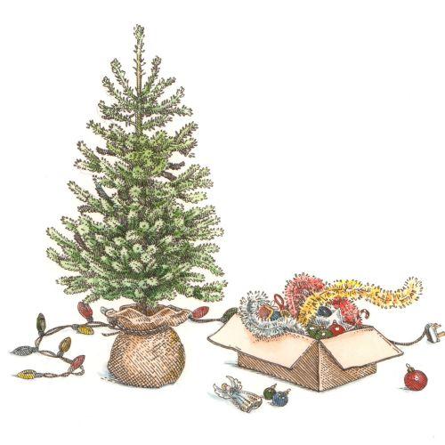 Digital painting of Christmas tree