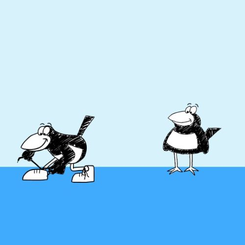 Cartoon character clip advertisement for Music Magpie