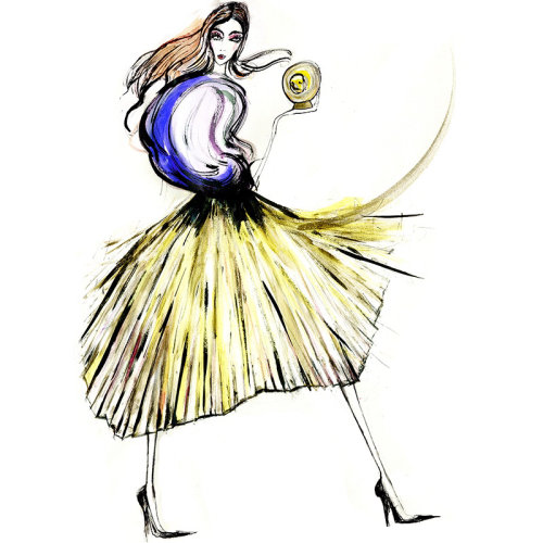 Character design painting woman walking